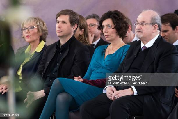 British author Salman Rushdie Austrian author Eva Menasse and AustrianGerman author Daniel Kehlmann attend the event 'The liberty of thoughts in...