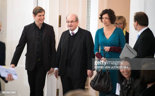 British author Salman Rushdie Austrian author Eva Menasse and AustrianGerman author Daniel Kehlmann arrive for the event 'The liberty of thoughts in...