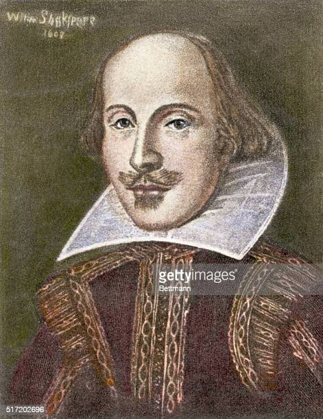 British author/playwright William Shakespeare is depicted in this head and shoulders illustration wearing typical Elizabethan garb Undated date in...