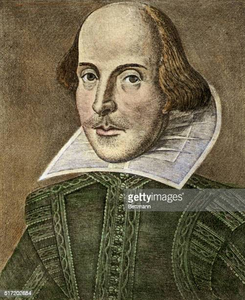British author/playwright William Shakespeare is depicted in this color illustration Undated