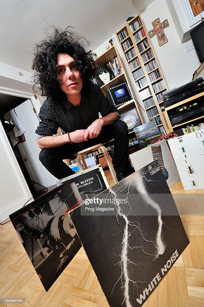 British avant-garde rock guitarist, composer and multi-instrumentalist Kavus Torabi photographed with his record collection, during a portrait shoot for Prog Magazine, March 27, 2012.