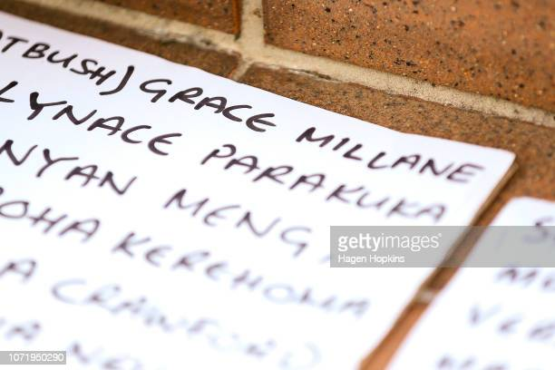 British backpacker Grace Millane's name is seen amongst a list other female victims of violence in New Zealand during a vigil at Civic Square on...