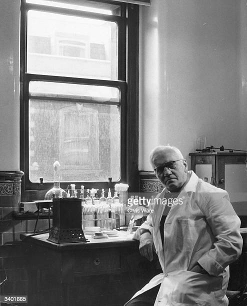 British bacteriologist and Nobel laureate Sir Alexander Fleming at work in his laboratory