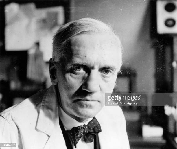 British bacteriologist and Nobel laureate Sir Alexander Fleming in his laboratory at St Mary's Hospital Paddington Fleming was born in Ayrshire and...