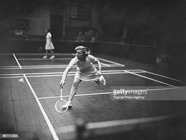 British badminton player Betty Uber competing in the Women's Singles at the AllEngland Badminton Championships at the Royal Horticultural Hall London...
