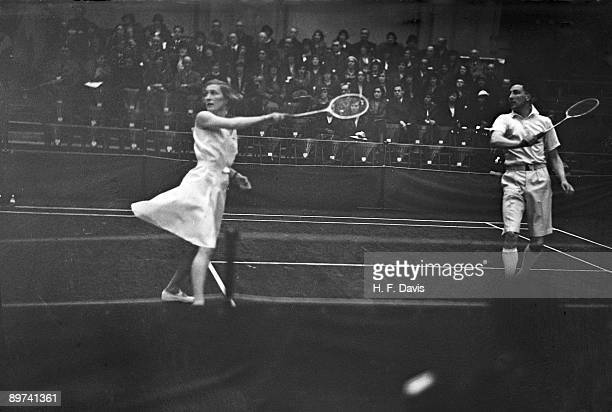 British badminton player Betty Uber in action during the AllEngland Badminton Championships at the Royal Horticultural Hall London 9th March 1934