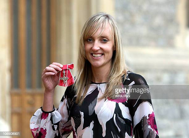 British Badminton player Donna Kellogg who was made a Member of the British Empire after an Investiture ceremony at Windsor Castle hosted by Queen...