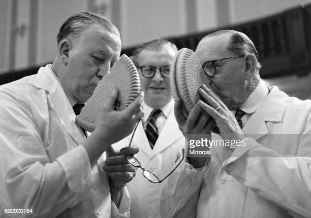 British Baking Exhibition Caxton Hall 23rd March 1961 Left to Right Mr W Millar from Kilmarnock and Mr J McMillan from Paisley seen here judging the...