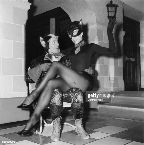 British ballerina and choreographer Gillian Lynne with comedian Dick Emery during rehearsals for the Leslie A MacDonnell pantomime 'Puss in Boots' at...