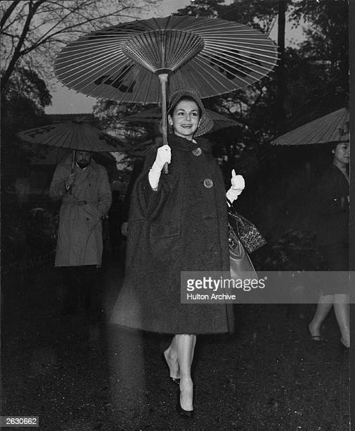 British ballerina and member of the Royal Ballet Lynn Seymour arriving at a reception being held for the troupe at the Chinzenso Gardens in Tokyo...