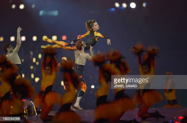 British ballerina Darcey Bucell performs at the Olympic stadium during the closing ceremony of the 2012 London Olympic Games in London on August 12,...