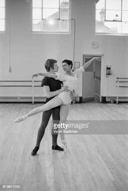 British ballerina Margot Fonteyn rehearsing with her new partner David Wall principal dancer with the Royal Ballet Touring Company London UK 11th...