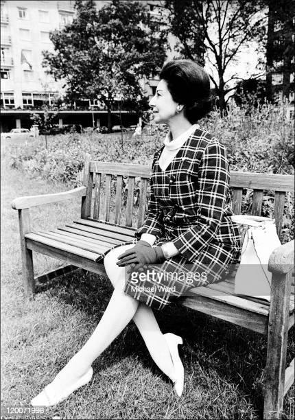 British ballet dancer and choreographer Alicia Markova sitting on a park bench, 1968.