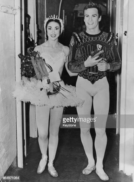 British ballet partners Dame Margot Fonteyn and Michael Somes at the Empire Theatre in Sydney Australia after taking twelve curtain calls for their...