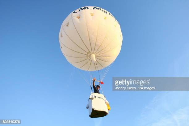 British balloonist and explorer David HemplemanAdams takes off in a tiny helium balloon the CMC Markets Challenger of class AA01 from an airfield in...