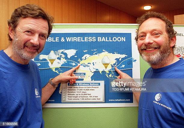 British balloonists Colin Prescot and Andy Elson point to the launching and landing points of their failed attempt at circumnavigating the globe in a...