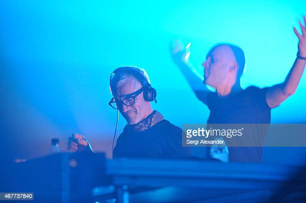 British band Above Beyond perform during Miami Music Week at MANA Wynwood on March 26 2015 in Miami Florida