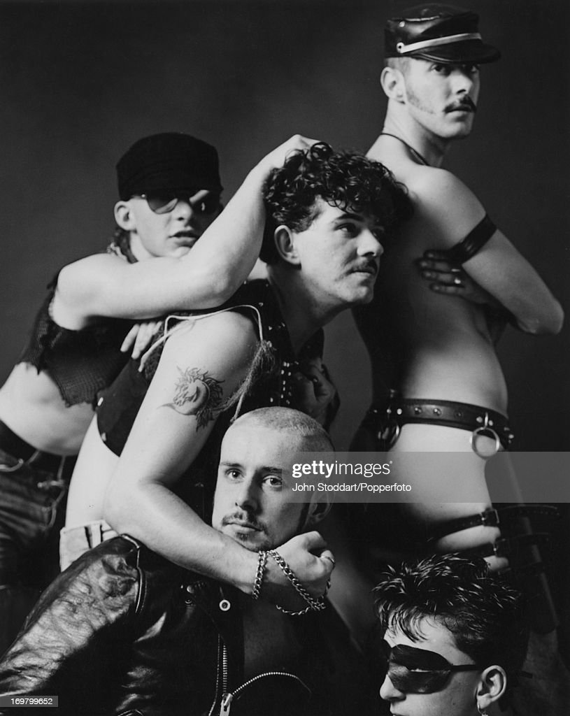 British band Frankie Goes To Hollywood, October 1982. Clockwise from top left: guitarist Brian Nash, drummer Peter Gill, keyboard player Paul Rutherford, bassist Mark O'Toole and singer Holly Johnson. A photoshoot for GQ magazine.