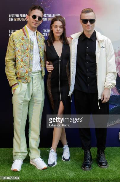 British band Monarchy and actress Ana Rujas attend the 'Festivaleando con Brutal'' photocall at Harley Space on May 31 2018 in Madrid Spain