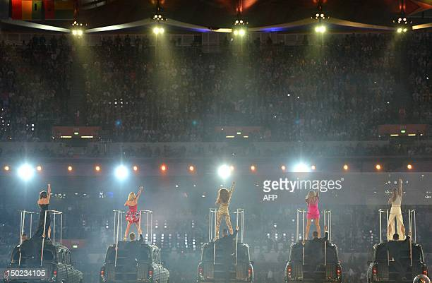British band Spice Girls performs during the closing ceremony of the London 2012 Olympic Games in the Olympic Stadium in east London on August 12,...