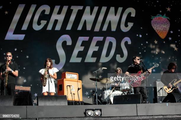 British band the Lightning Seeds perform on stage ahead of a Hyde Park screening of the FIFA 2018 World Cup semifinal match between Croatia and...