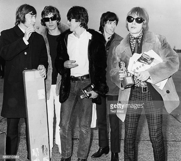 British band 'The Rolling Stones' Charlie Watts Mick Jagger Keith Richards Bill Wyman and Brian Jones pictured on their arrival at London Airport...