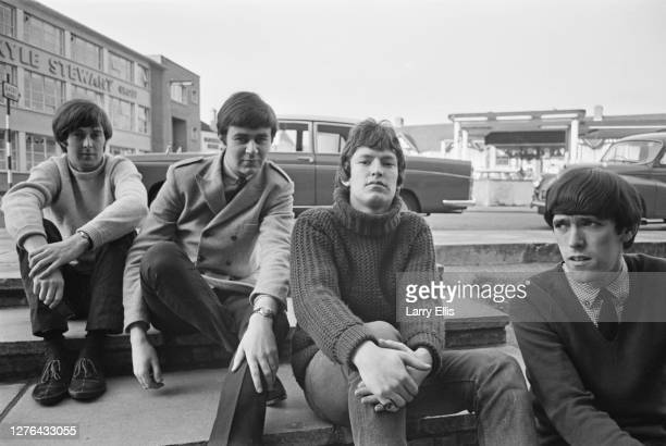 British band the Spencer Davis Group, UK, December 1965. From left to right, they are guitarist Spencer Davis, drummer Pete York, keyboard player...