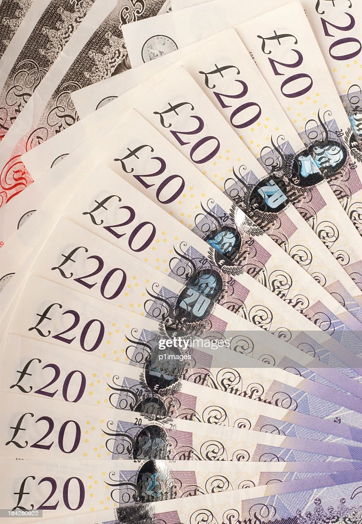 British bank notes fanned out : Stock Photo