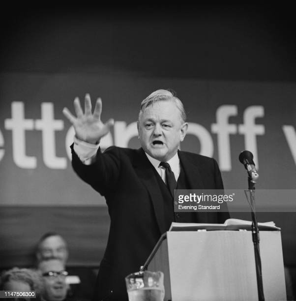 British barrister and Conservative politician Quintin Hogg, Baron Hailsham of St Marylebone , Shadow Home Secretary, talking at the Conservative...