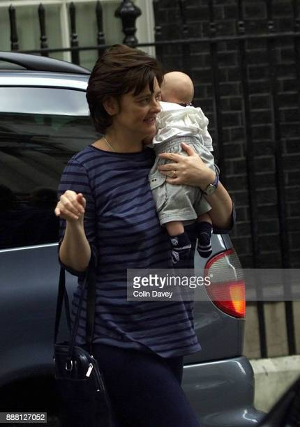 British barrister and lecturer Cherie Blair arrives at 10 Downing Street with 2 month old baby Leo London UK 18th July 2000