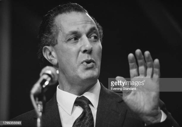 British barrister and politician Sir Keith Joseph , the Secretary of State for Social Services, at the Conservative Party Conference in Blackpool,...