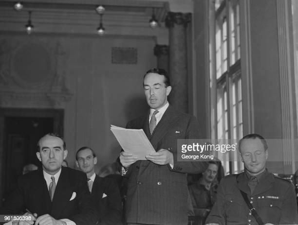 British barrister Sir Hartley Shawcross , the Attorney General and chief British prosecutor in the Nuremberg Trials, reads out the indictment at the...
