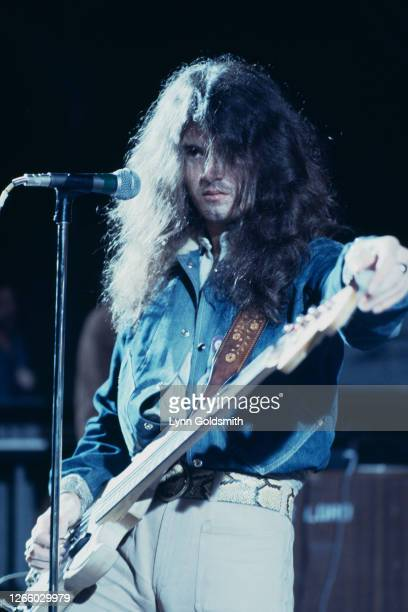 British bass guitarist and singer Glenn Hughes of rock band Deep Purple as the band play California Jam, a rock music festival held at the Ontario...