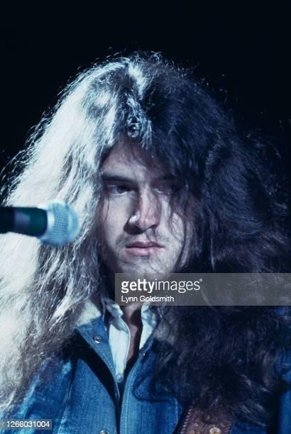 British bass guitarist and singer Glenn Hughes of rock band Deep Purple play California Jam, a rock music festival held at the Ontario Motor Speedway...