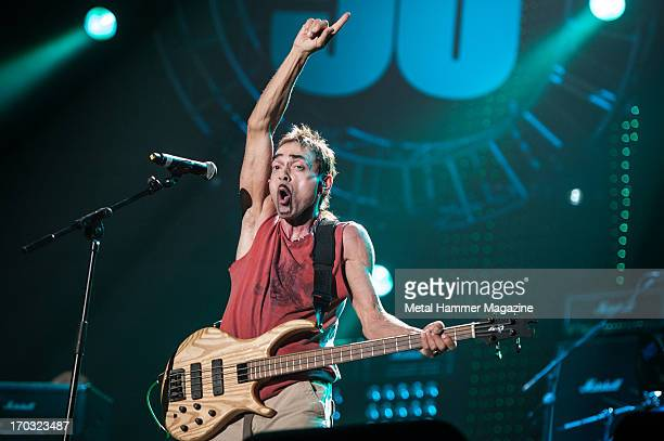 British bassist and songwriter Andy Fraser performing live onstage during the Marshall 50 Years Of Loud anniversary concert at Wembley Arena...
