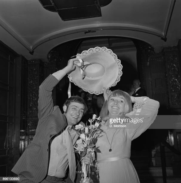 British BBC Radio 1 producer Roger Pusey and singer and actress Lois Lane on their wedding day UK 15th October 1971