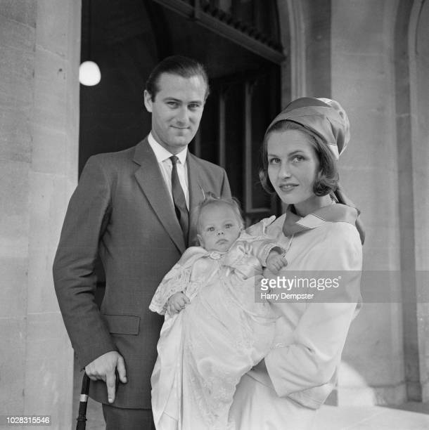 British billionaire peer and landowner Charles Cadogan 8th Earl Cadogan with his wife Philippa Wallop at the christening of their daughter AnnaKarina...