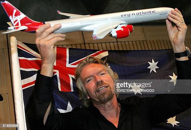 British billionaire Richard Branson promotes the maiden flight of his flagship airline Virgin Atlantic from London to Australia at the Sydney Opera...