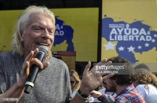 British billionaire Richard Branson speaks before the Venezuela Aid Live concert which he organized to raise money for the Venezuelan relief effort...