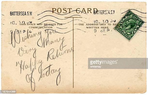 british aniversário saudações de cartão postal, reinado de george v - marca postal - fotografias e filmes do acervo
