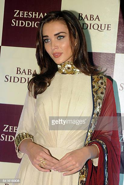 British Bollywood actress Amy Jackson attends an Iftar party hosted by politician Baba Siddiqui during the Islamic holy month of Ramadan in Mumbai on...