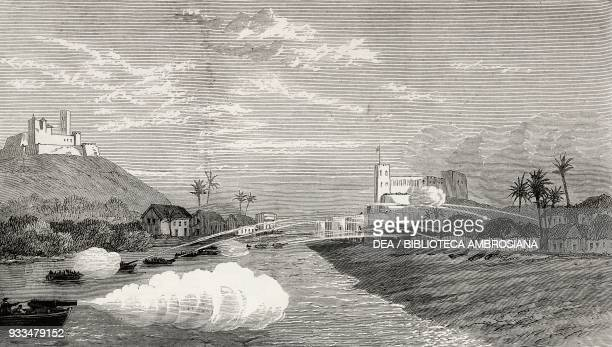 British bombardment of the town of Elmina, Ghana, Third Anglo-Ashanti War, illustration from the magazine The Illustrated London News, volume LXIII,...