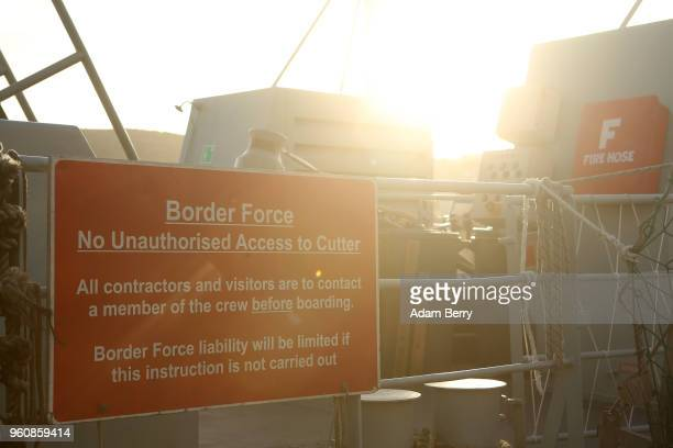 British Border Force ship used to intercept refugee boats from Turkey sits docked in the harbor on May 19 2018 in Mytilene Greece Despite being built...