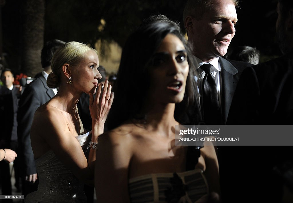 British born Australian actress Naomi Watts (L), Israeli actress Liraz Charhi and US actor Noah Emmerich leave after the screening of 'Fair Game' presented in competition at the 63rd Cannes Film Festival on May 20, 2010 in Cannes.