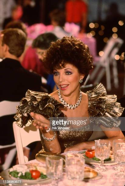 British born TV and movie actress Joan Collins on the set of the soap opera Dynasty in which she payed the scheming Alexis Carrington in Hollywood in...