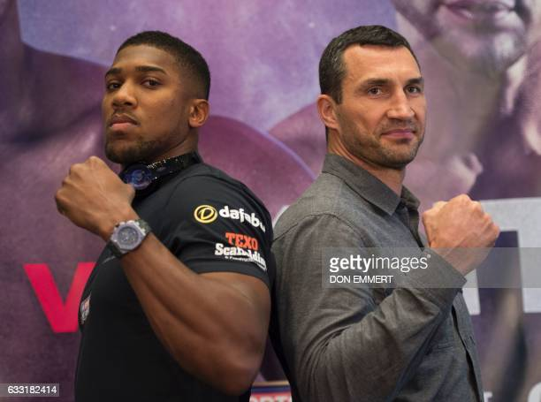 British boxer Anthony Joshua and Wladimir Klitschko of the Ukraine meet during a news conference January 31 2017 in Madison Square Garden in New York...