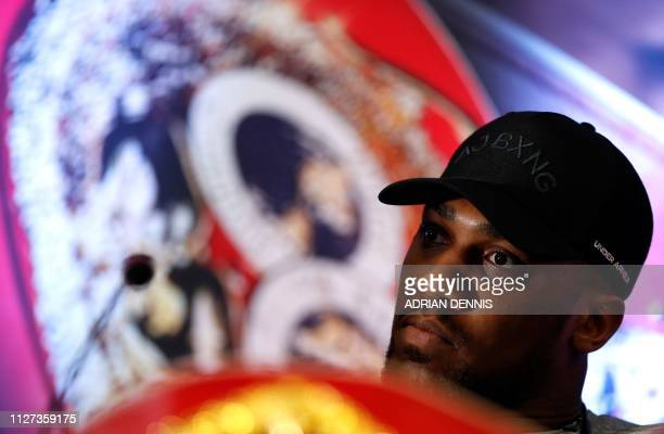 British boxer Anthony Joshua attends a press conference in London on February 25 ahead of his forthcoming IBF, WBA and WBO heavyweight title boxing...