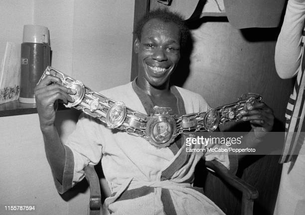 British boxer Bunny Sterling poses with the belt after winning the vacant British Middleweight Title against Maurice Hope at the National Sporting...