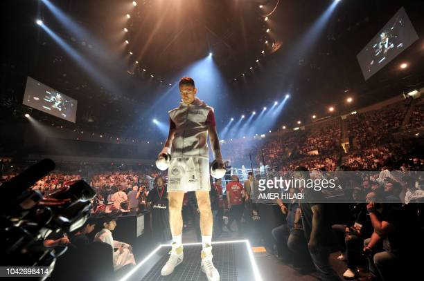 British boxer Callum Smith at his match against compatriot George Groves for the World Boxing Super Series SuperMiddleweight Ali Trophy Final at the...