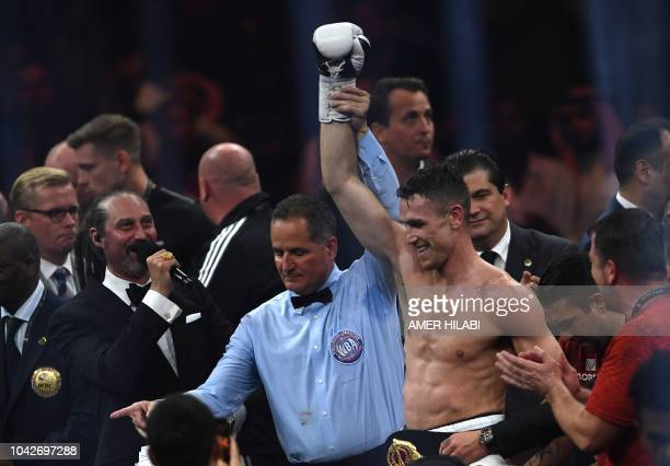 British boxer Callum Smith celebrates after defeating compatriot George Groves during the World Boxing Super Series SuperMiddleweight Ali Trophy...
